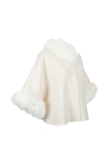 Silk and Cashmere Kaşmir Karişimli Minnie Suni Kürk Detayli Pelerin Beyaz